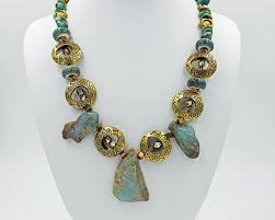 33 00 pure gold 24 inch beaded necklace and earrings set designed by sue justus
