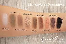 wild west 6 vs makeup geek eyeshadow pan brownie points makeup geek swatches beautywithcaution