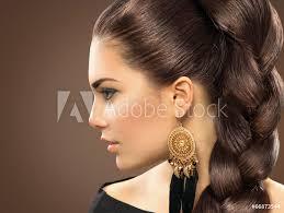 Fotografie Obraz Nevěsta účes Krásná žena S Zdravé Dlouhé Vlasy