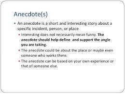 essay lecture anecdote s