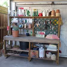 diy potting bench hooks shelves opens and shuts for potting soil bucket