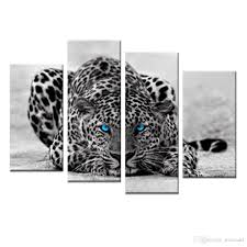 2019 abstract blue eyed leopard painting black white wall art animal picture prints on canvas with framed for home decor ready to hang from mocoart