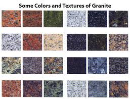 some of the many colors and textures of granite