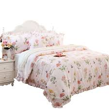 Designer Quilt Covers Fadfay Butterfly Duvet Covers Pink Floral Bedding Hypoallergenic Cotton Designer Bedding Set With Ruffle 3 Pieces 1duvet Cover 2pillowcases