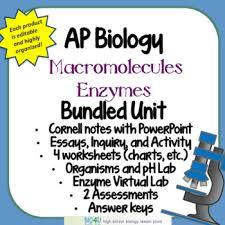 Macromolecules Chart Ap Biology Ap Biology Macromolecules And Enzymes Bundled Unit By Bio4u