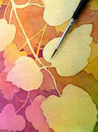 the painted prism watercolor work negative painting of aspen leaves