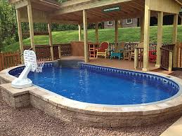 Pool Backyard Design Ideas Custom Semi Inground Swimming Pool Backyard Design Ideas