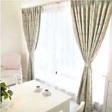 Casual Flower And Light Green Blackout Curtains