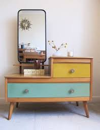 retro wood furniture. fantastic retro wooden dressing table vintage coloured drawers 50s 60s mirror wood furniture