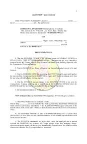 Business Investment Agreements Sample Investor Agreement Template RESUME 20