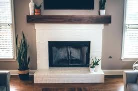 modern white brick fireplace walnut mantel shelf with shelves electric