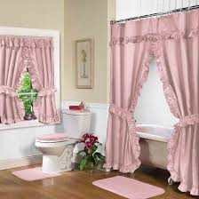 Pink Double Swag Shower Curtain With Valance