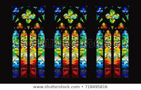 Glass Patterns Vector Gothic Stainedglass Window Design Scottish Stained Glass Vector Gothic Stained Glass Window Design Stockvector rechtenvrij