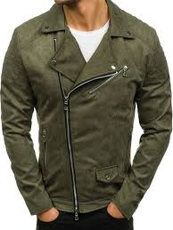 men s suede biker jacket green bolf 5035