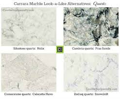 four quartz countertop colors that look like white carrara marble collage