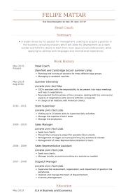 Head Coach Resume Samples VisualCV Resume Samples Database Beauteous Soccer Coach Resume