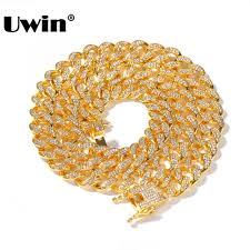 Uwin Miami Cuban Link Chain Necklace 13mm Full <b>Bling Bling Iced</b> ...