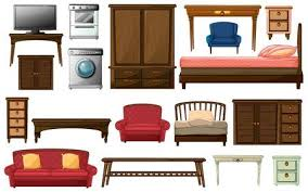 bedroom furniture clipart. Delighful Clipart Illustration Of The House Furnitures And Appliances On A White Background  Intended Bedroom Furniture Clipart M