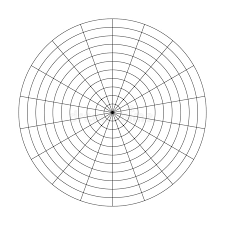 Polar Grid Of 10 Concentric Circles And 5 Degrees Steps