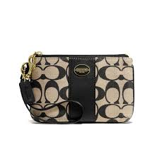 COACH Women s Legacy Printed Signature Small Wristlet Clutch