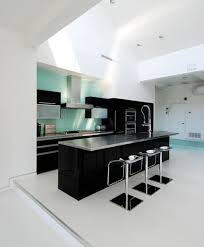 black kitchen furniture themes with blue white accent dramatic black or white furniture