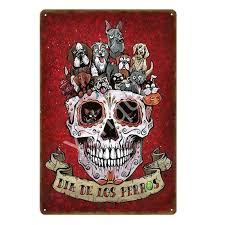 sugar skull metal art culture day of the dead home wall decor poster iron painting improvement sugar skull