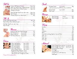 Spa Menu Of Services Template Menu Services Marys Nail Day Spa