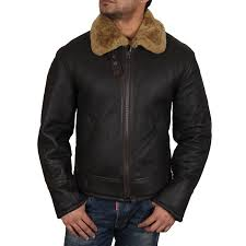 men s real shearling sheepskin leather flying jacket aviator ginger brown bnwt