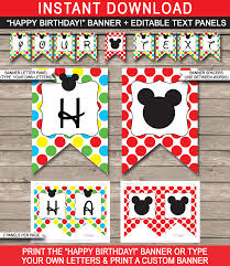 Happy Birthday Signs To Print Mickey Mouse Party Banner Template