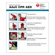 Aha Adult Cpr Aed Wallet Card 100 Pack Worldpoint