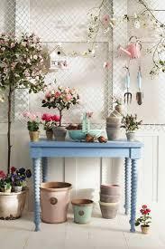 blue table white wooden wall ceramic flooring tile flower on pot