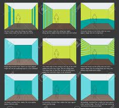Home decoration, interior design basics. Color scheme and space Perception.  Stripes Stock Vector