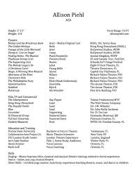 Musical Theatre Resume Resume Allison Piehl 92