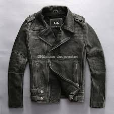 resident evil classic man motorcycle clothing thick rigid texture outerwear vintage cowhide leather jacket heavy duty zippers genuine leather with