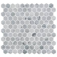 12 x 12 white silver grey natural stone mosaic wall floor tile