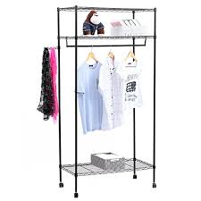 Heavy Duty Coat Rack With Shelf Songmics Heavy Duty Garment Rack with Top and Bottom Shelves 100Tier 79