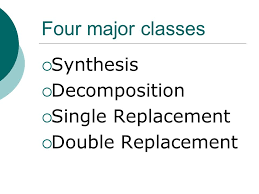 2 four major cl synthesis decomposition single replacement double replacement