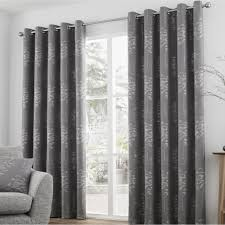 elmwood lined ready made eyelet ring top botanical curtains by curtina in graphite and silver
