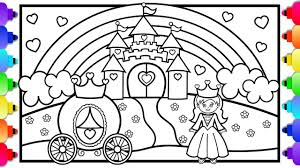 You can print or color them online at. Princess Castle Coloring Page Learn To Draw A Princess Castle Rainbow And Princess Carriage Youtube