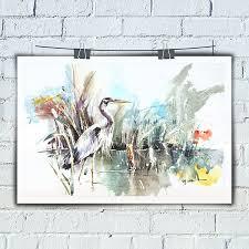 charm decor painting living room wall art animal hd print on canvas heron watercolor