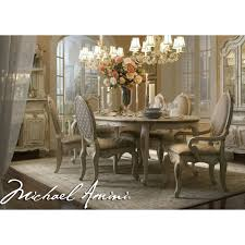 Michael Amini 7pc Lavelle Blanc Oval Dining Table Set By AICO.