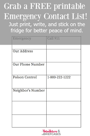 Emergency Contact Printable Free Printable Emergency Contact List Binkies And Briefcases