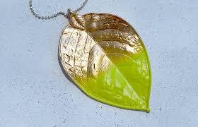 huge leaf pendant color dipped in bright chartruese yellow green felt