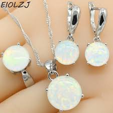 925 sterling silver jewelry sets for women round white fire opal necklace pendant dangle earrings choker ring gift box free ship