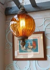 lee alex vintage modern retro mid century danish modern furniture amber glass globe light fixture