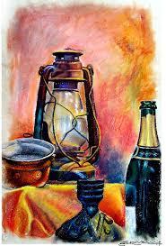 srv artist oil pastel painting title still life oil pastel on box board