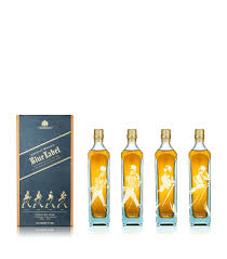 striding man blue label gift pack 4 x 20cl