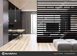Moderne Grau Und Holz Esszimmer Stockfoto Denisismagilov