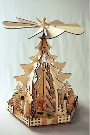 Wooden Rotary Christmas Pyramid With Windmill Christmas