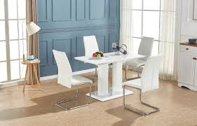 imperia white high gloss dining table set and 4 chrome leather dining chairs 1 of 3only 0 available